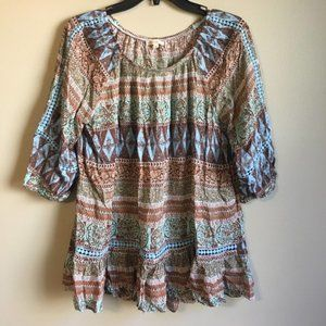 Latitude small brown and blue off the shoulder top